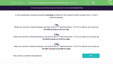 'Rounding to the Nearest Whole Number, 1, 2 or 3 decimal places' worksheet