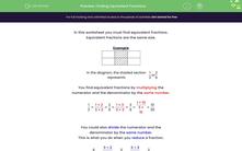 'Finding Equivalent Fractions' worksheet