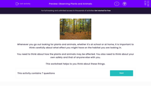 'Observing Plants and Animals' worksheet