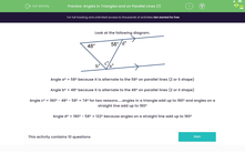'Angles in Triangles and on Parallel Lines (1)' worksheet