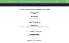 'Understand Common Integer Sequences' worksheet