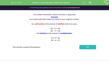 'Inverse Operations: Which One Works?' worksheet