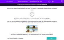 'Daylength, as it changes through the year' worksheet