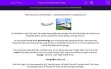 ' Calculate Kinetic Energy' worksheet