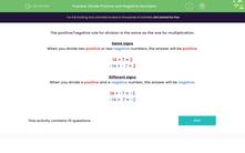 'Divide Positive and Negative Numbers' worksheet