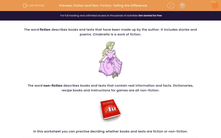 'Fiction and Non-Fiction: Telling the Difference' worksheet