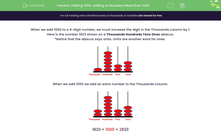 'Adding 1000: Adding to Numbers More than 1000' worksheet