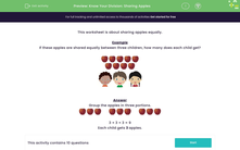 'Know Your Division: Sharing Apples' worksheet