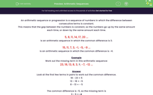 'Arithmetic Sequences' worksheet