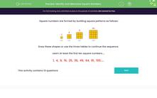 'Identify and Memorise Square Numbers' worksheet