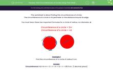 'Find Circumferences of Circles Using Their Radii (1)' worksheet