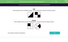 'Know Your Fractions: Halves or Quarters?' worksheet
