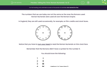 'Telling the Time: Roman Numerals 1 to 12' worksheet