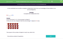 'Multiplication Facts: Using Numbers and Diagrams' worksheet