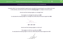 'Understand and Calculate Missing Angles Using Known Angle Facts' worksheet