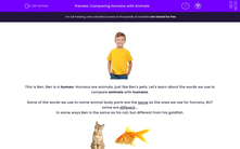 'Comparing Humans with Animals' worksheet