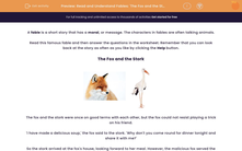 'Read and Understand Fables: 'The Fox and the Stork'' worksheet