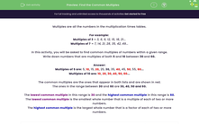 'Find the Common Multiples ' worksheet