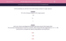 'Magic Square: Fill In the Numbers' worksheet