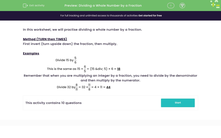 'Dividing a Whole Number by a Fraction' worksheet