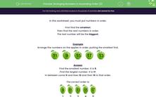 'Arranging Numbers in Ascending Order (2)' worksheet