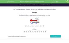 'Negative Numbers: Ordering Numbers' worksheet