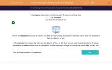 'Descriptive Writing: Similes and Metaphors' worksheet