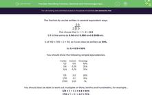 'Recalling Fraction, Decimal and Percentage Equivalences' worksheet