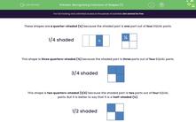 'Recognising Fractions of Shapes (1)' worksheet