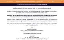 'GCSE Practice Paper in the style of Pearson Edexcel English Language Paper 2' worksheet