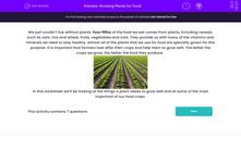 'Growing Plants for Food' worksheet