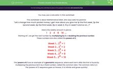'Double Your Pocket Money' worksheet