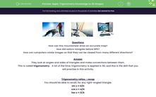 'Apply Trigonometry Knowledge to 3D Shapes' worksheet