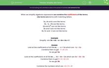 'Simplify Like Terms' worksheet