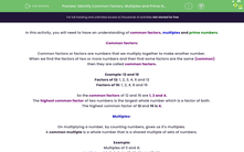'Identify Common Factors, Multiples and Prime Numbers' worksheet