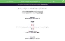 'Compare Decimal Numbers (1)' worksheet