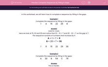 'Complete Sequences by Filling in Gaps' worksheet
