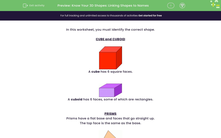 'Know Your 3D Shapes: Linking Shapes to Names' worksheet