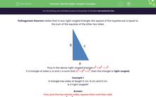 'Identify Right-Angled Triangles' worksheet