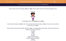 'Know Your Suffixes: -ible and -able' worksheet