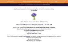'Understand Auxiliary Verbs' worksheet