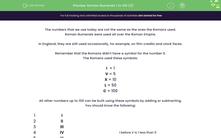 'Roman Numerals 1 to 100 (2)' worksheet