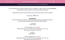 'Formal Long Division (1)' worksheet