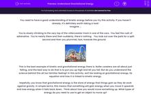 'Understand Gravitational Energy' worksheet
