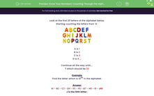 'Know Your Numbers: Counting Through the Alphabet' worksheet