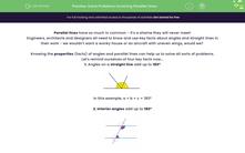 'Solve Problems Involving Parallel Lines' worksheet