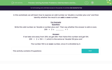 'Solving Number Problems: Odd Numbers and Doubling' worksheet
