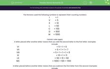 'Roman Numerals (1)' worksheet