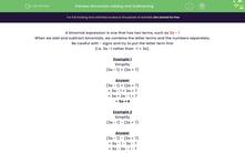 'Binomials: Adding and Subtracting' worksheet