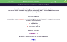 'Solve Linear Inequalities' worksheet